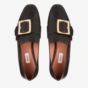 LEATHER FOLDING SLIPPER FLAT BABOUCHE MULE BLACK